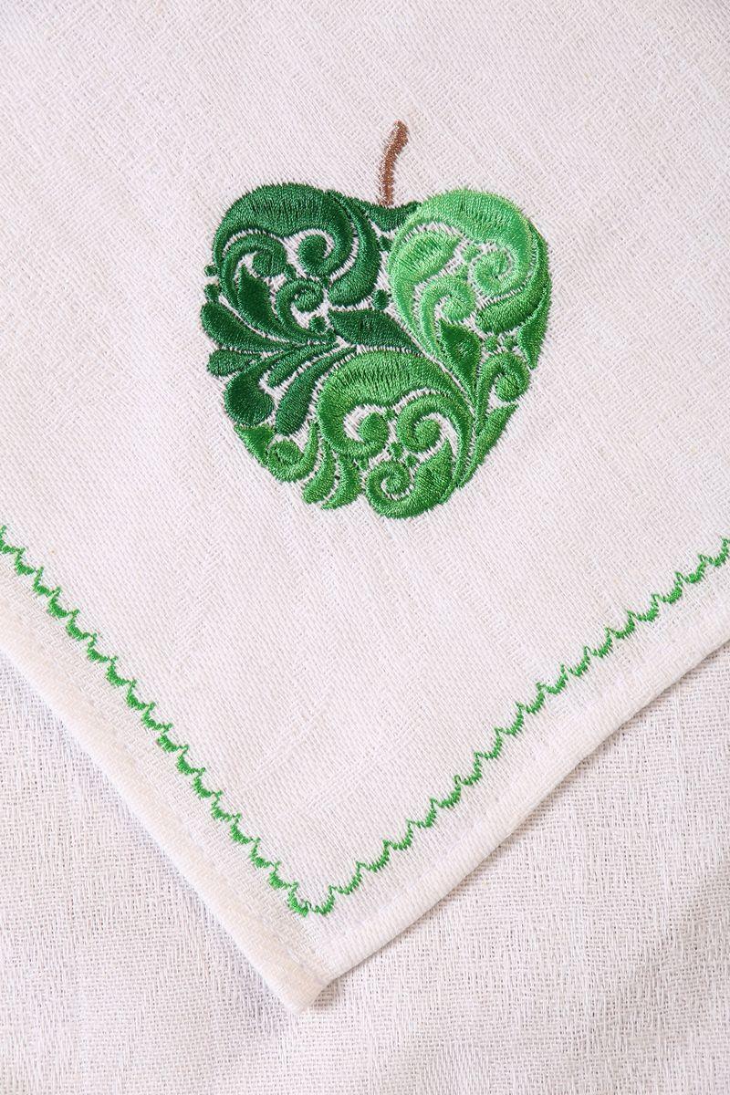 Полотенце кухонное с вышивкой 45*90 см, жаккардовое, 100 % лён (Яблоко)