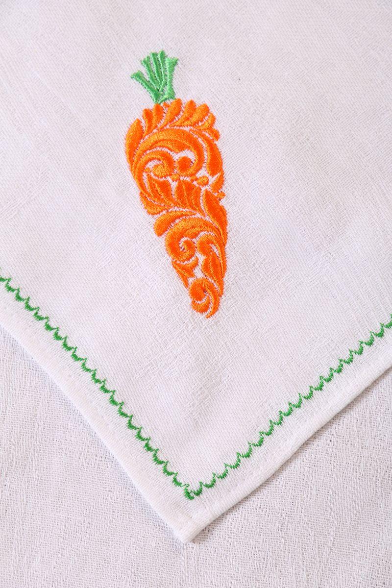 Полотенце кухонное с вышивкой 45*90 см, жаккардовое, 100 % лён (Морковь)
