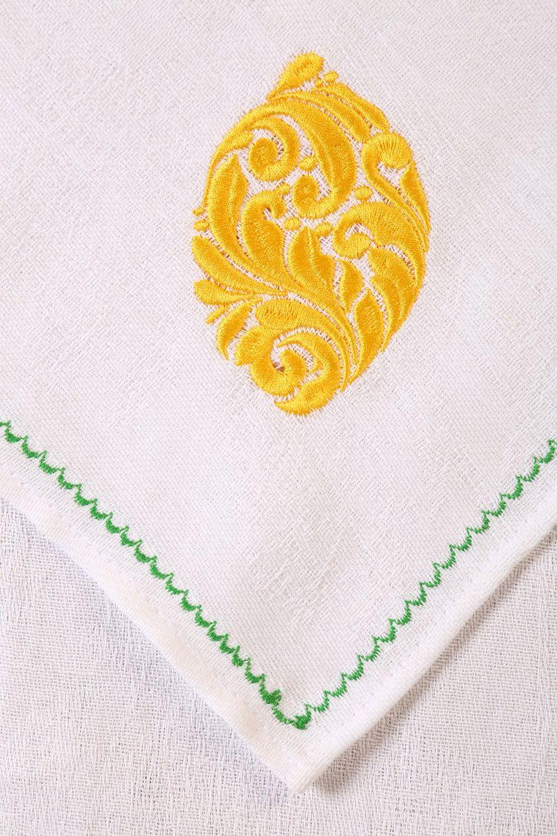 Полотенце кухонное с вышивкой 45*90 см, жаккардовое, 100 % лён (Лимон)
