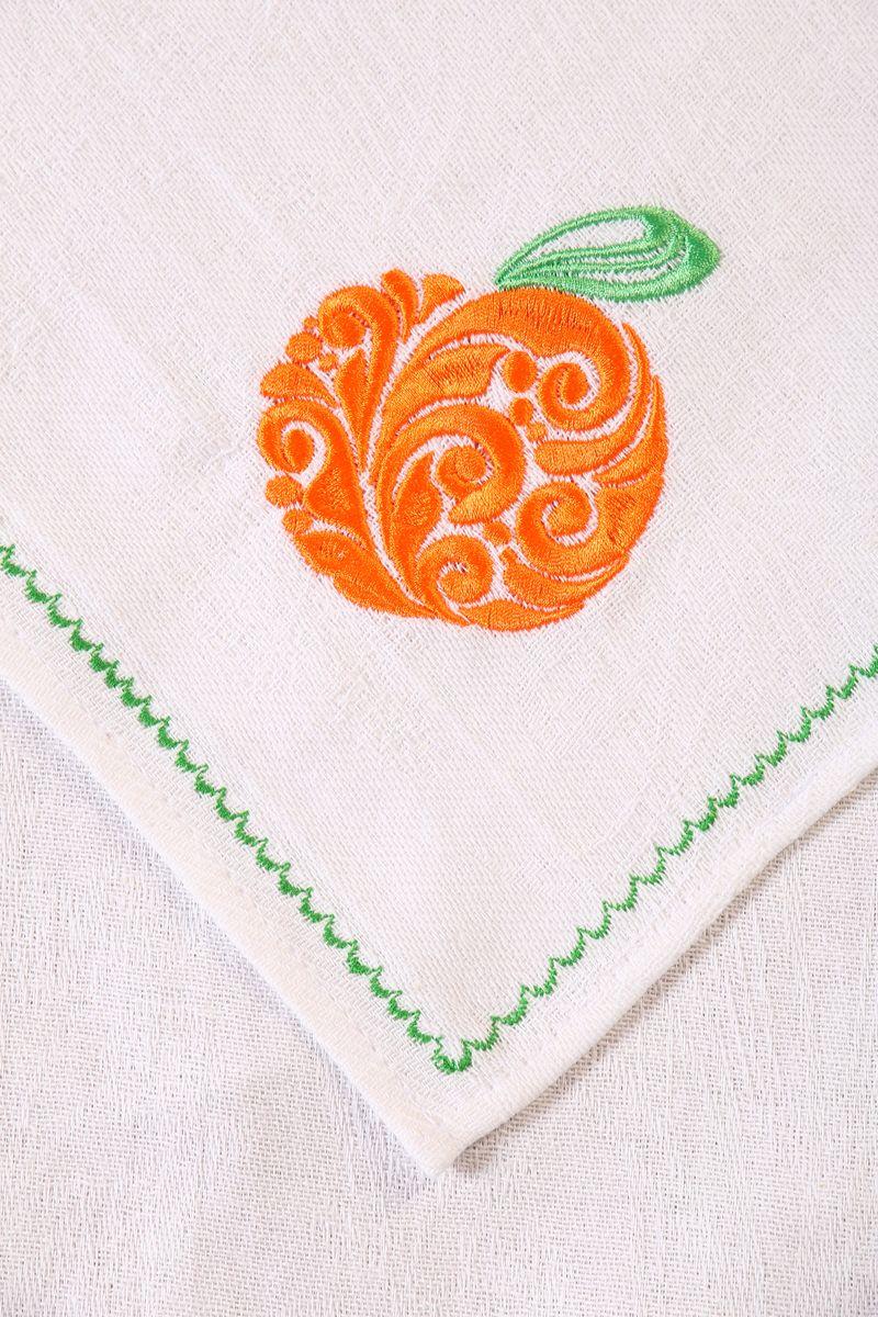 Полотенце кухонное с вышивкой 45*90 см, жаккардовое, 100 % лён (Апельсин)