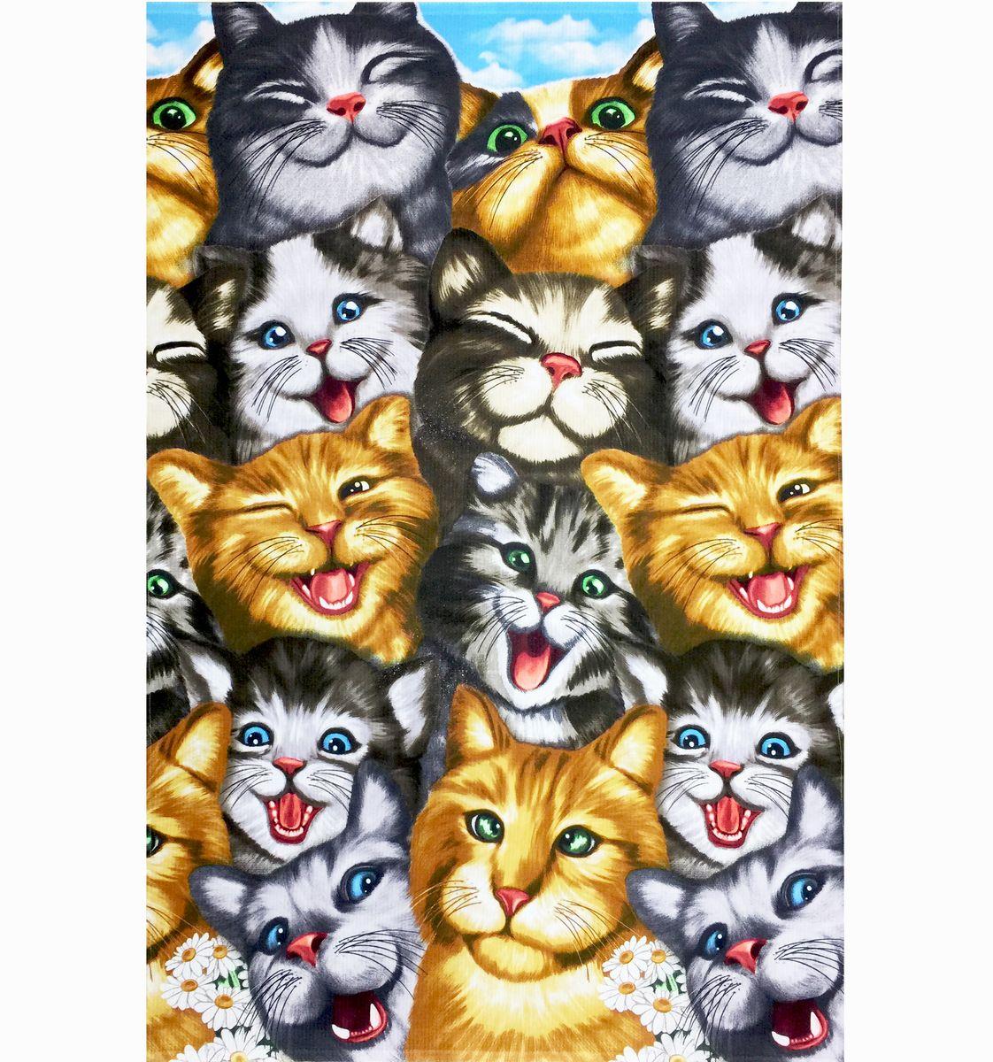 Полотенце вафельное пляжное 100*150 см (Кошки 3 D)