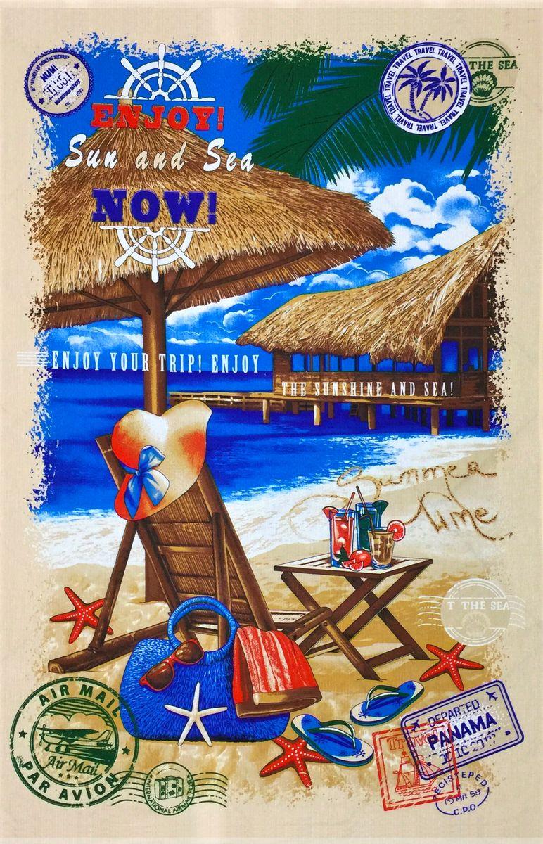Полотенце вафельное пляжное 100*150 см (Панама, бежевый)