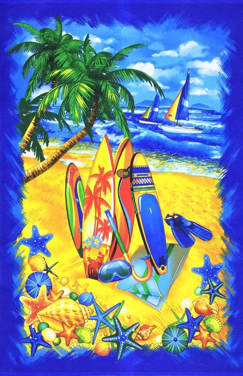 Полотенце вафельное пляжное 100*150 см (Острова, синий)