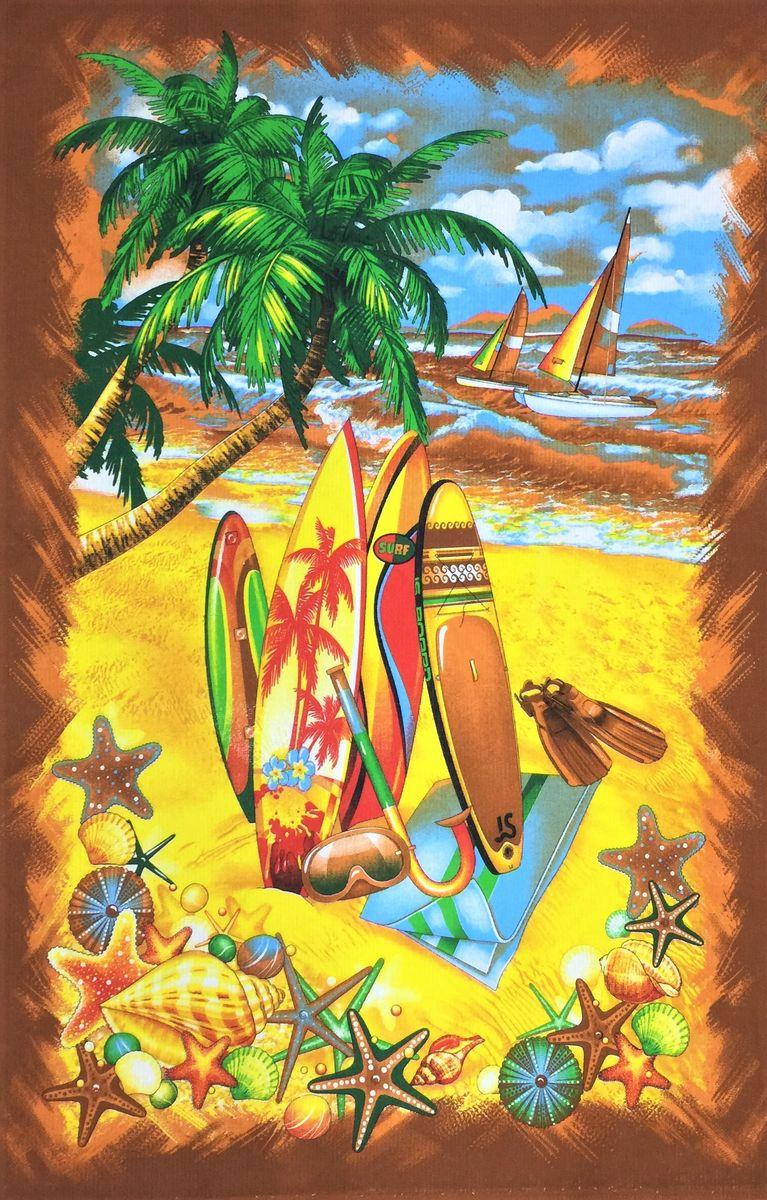 Полотенце вафельное пляжное 100*150 см (Острова, коричневый)