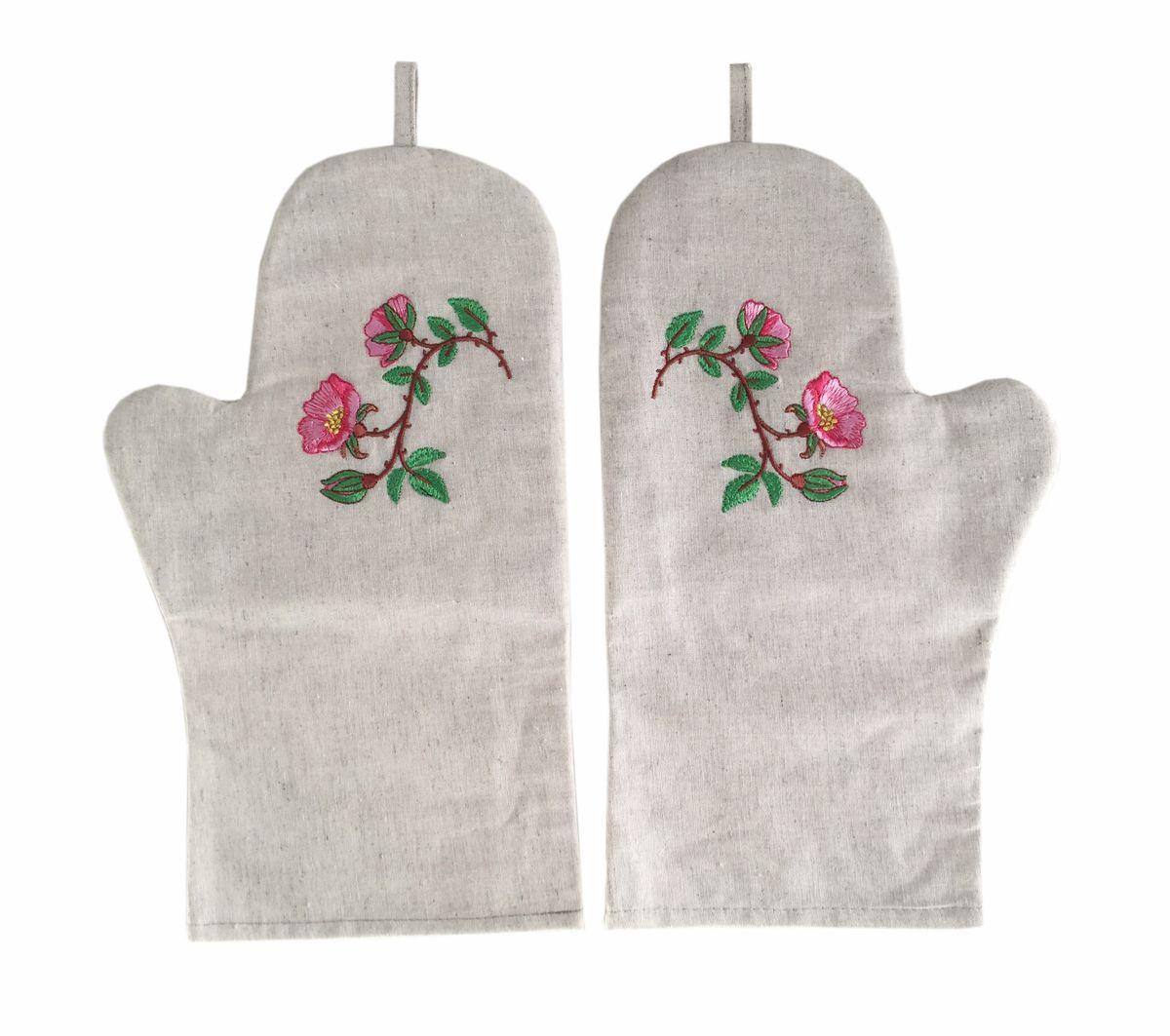 Комплект рукавиц для кухни с вышивкой, лен, 2 штуки (Шиповник)