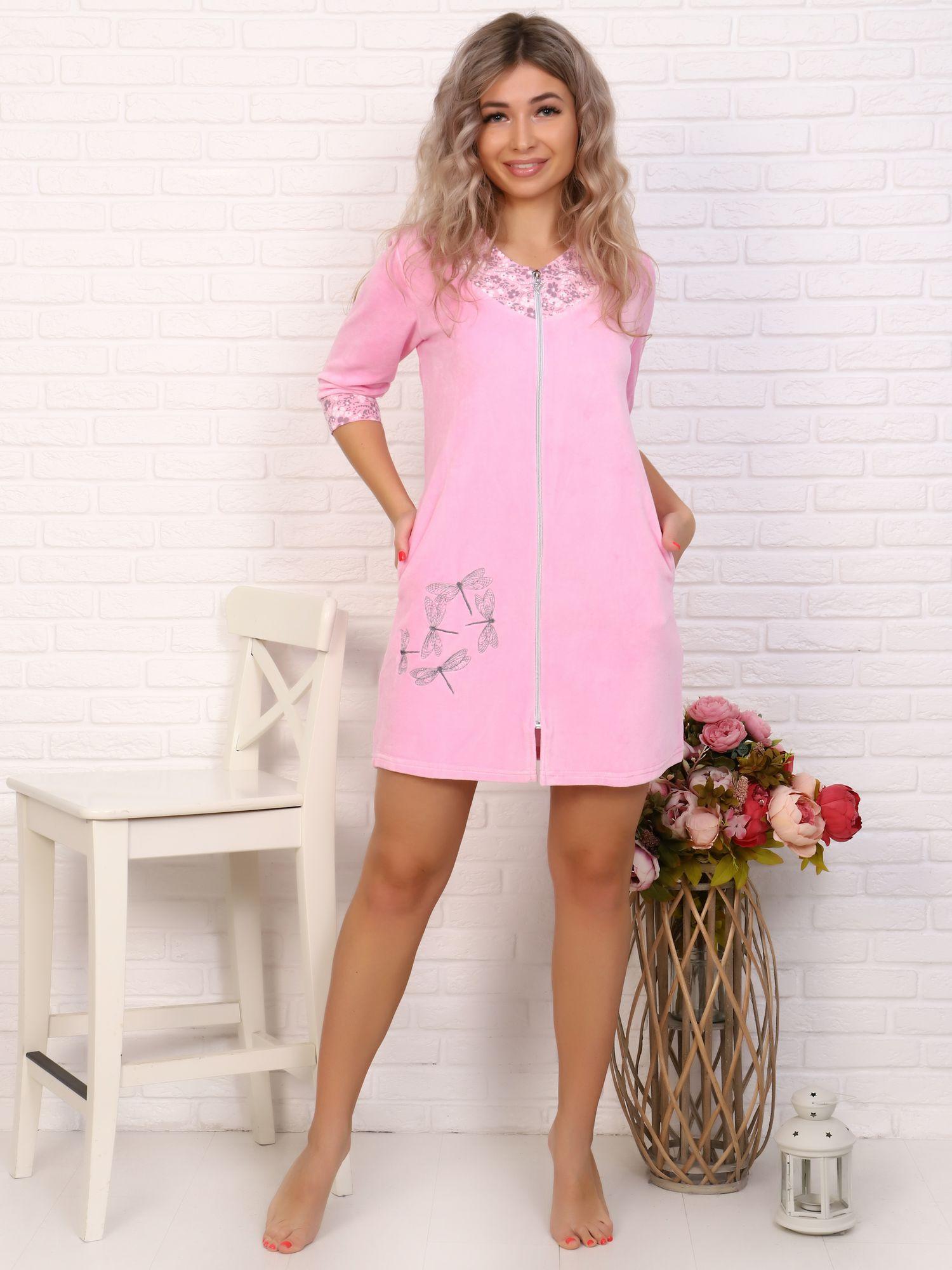 Халат женский, модель 158, велюр (Стрекоза, розовый)