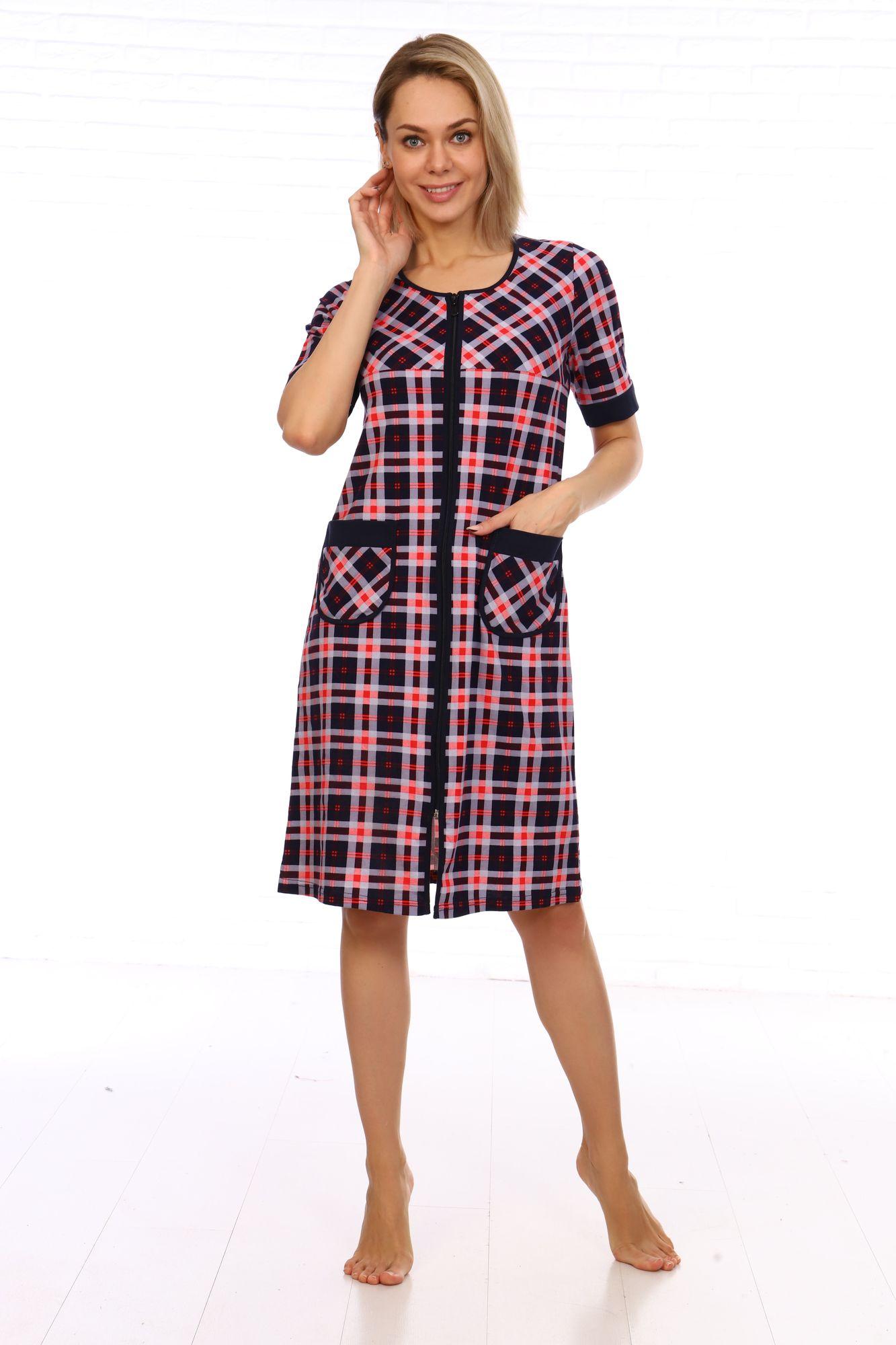 Халат женский, модель 124,трикотаж  (Шотландка, розовый)
