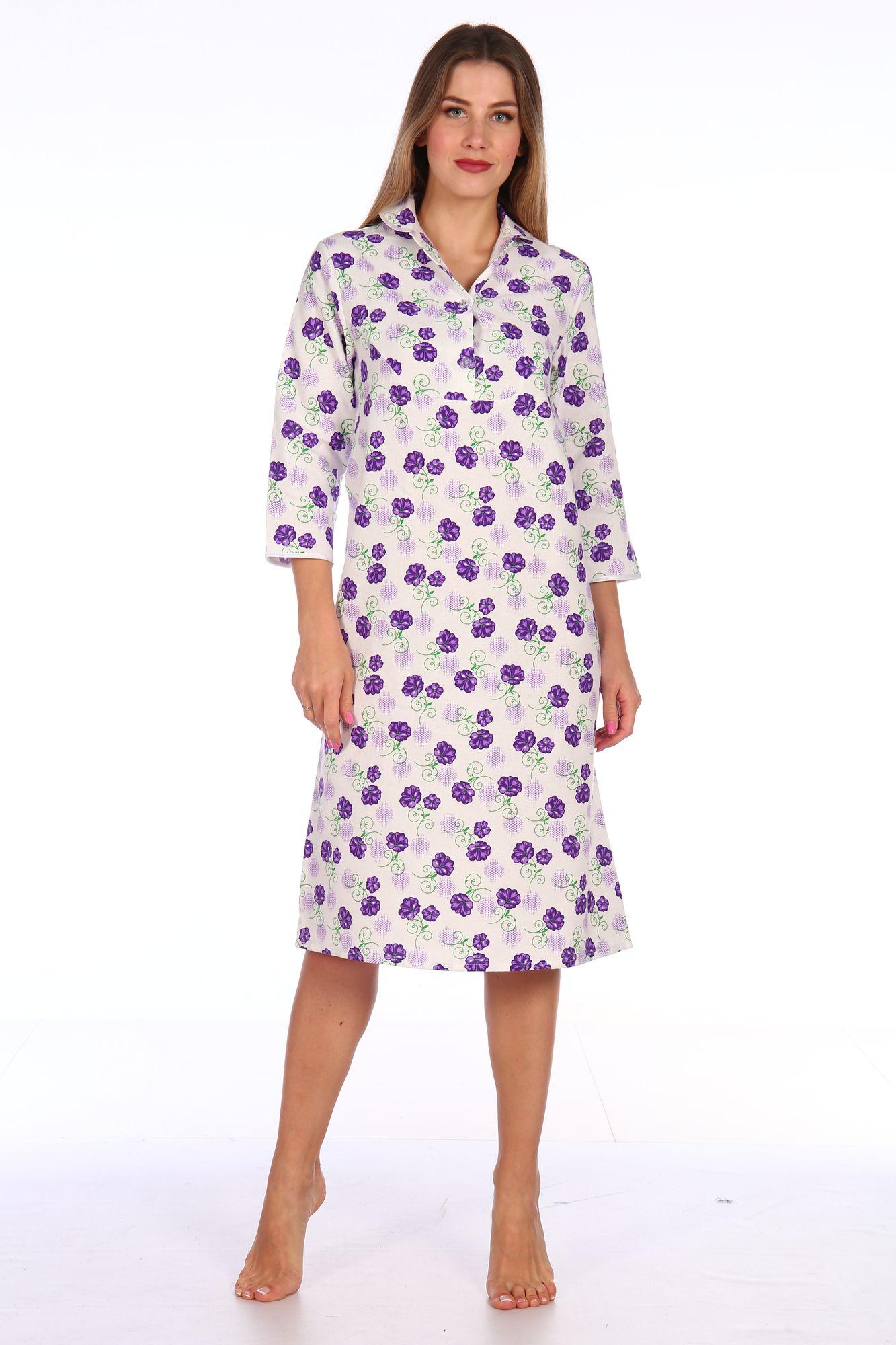 Сорочка ночная женская,модель 411,фланель (Цветы, сиреневый )
