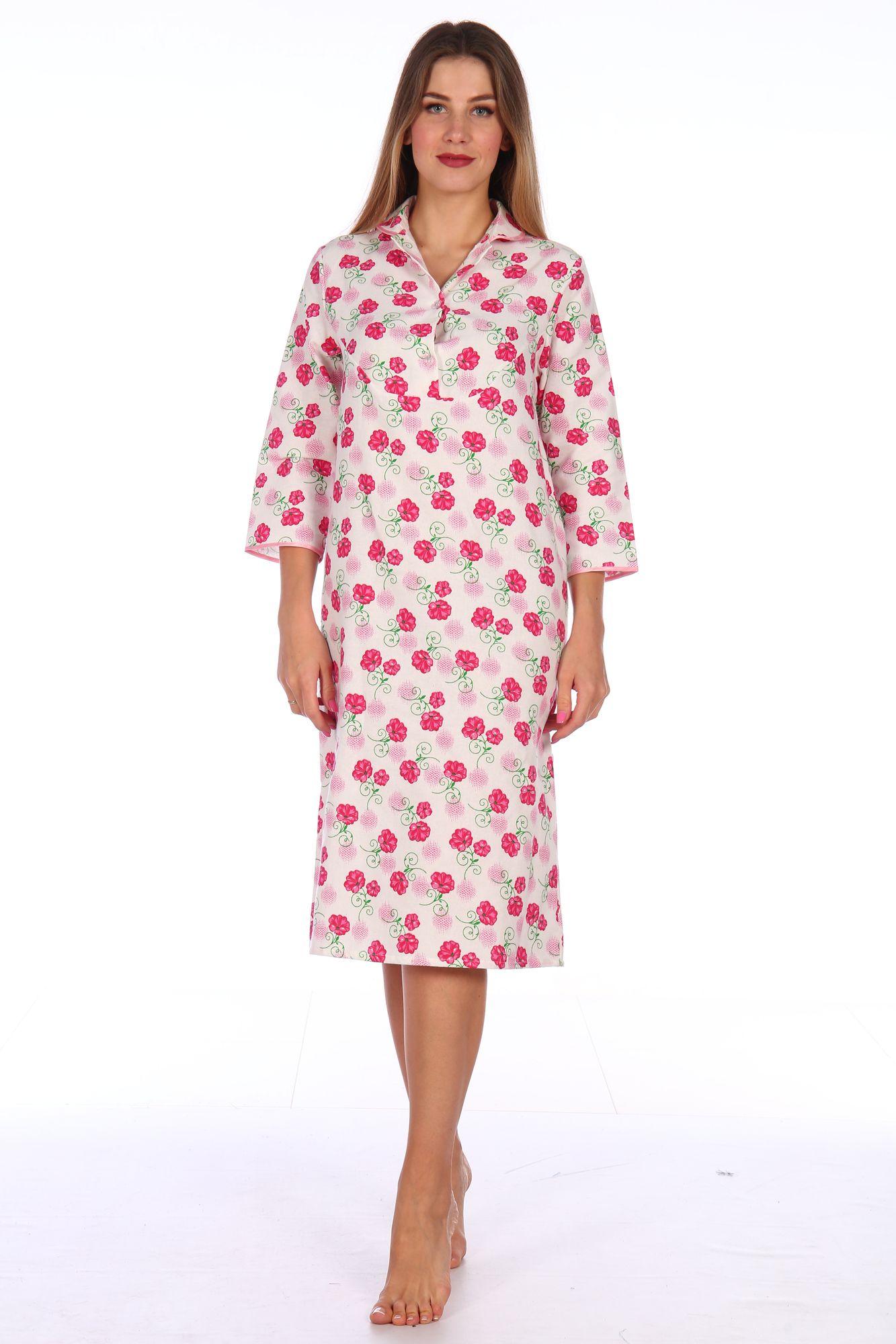 Сорочка ночная женская,модель 411,фланель (Цветы, розовый )