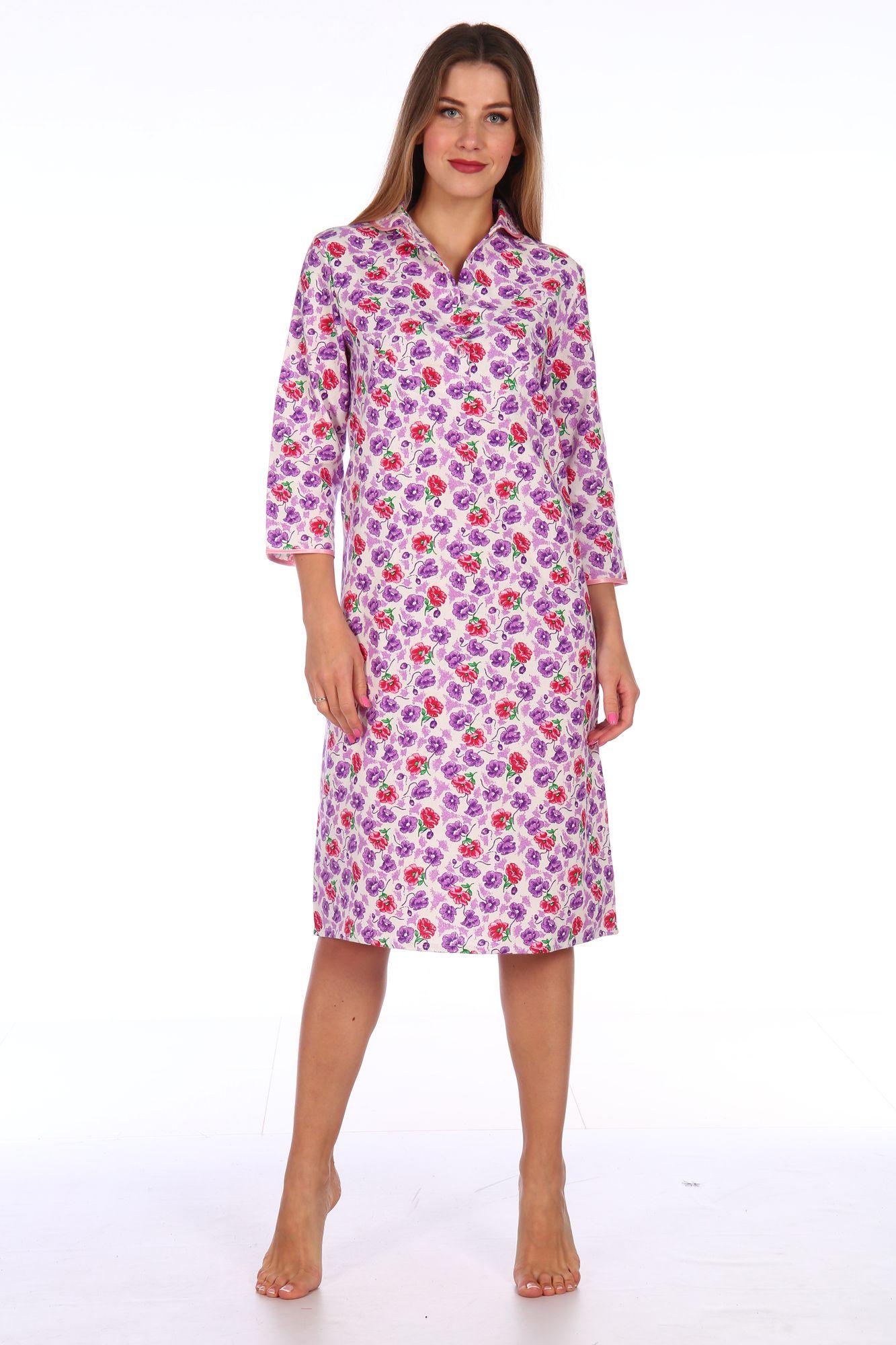 Сорочка ночная женская,модель 411,фланель (Цветочная полянка, сиреневый)
