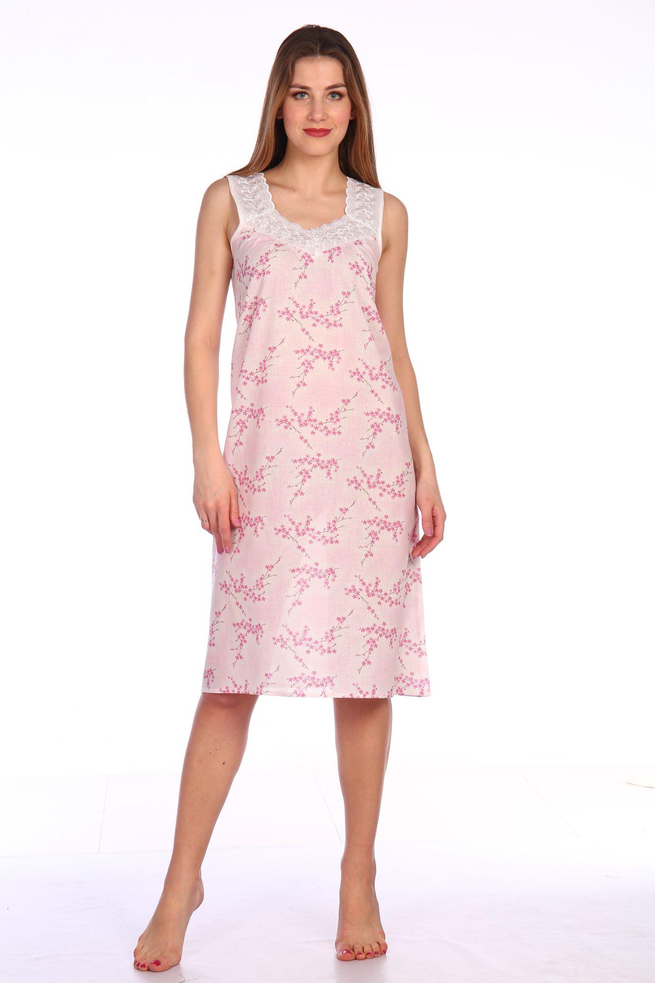 Сорочка ночная женская,модель 4031,ситец (Сакура, розовый)