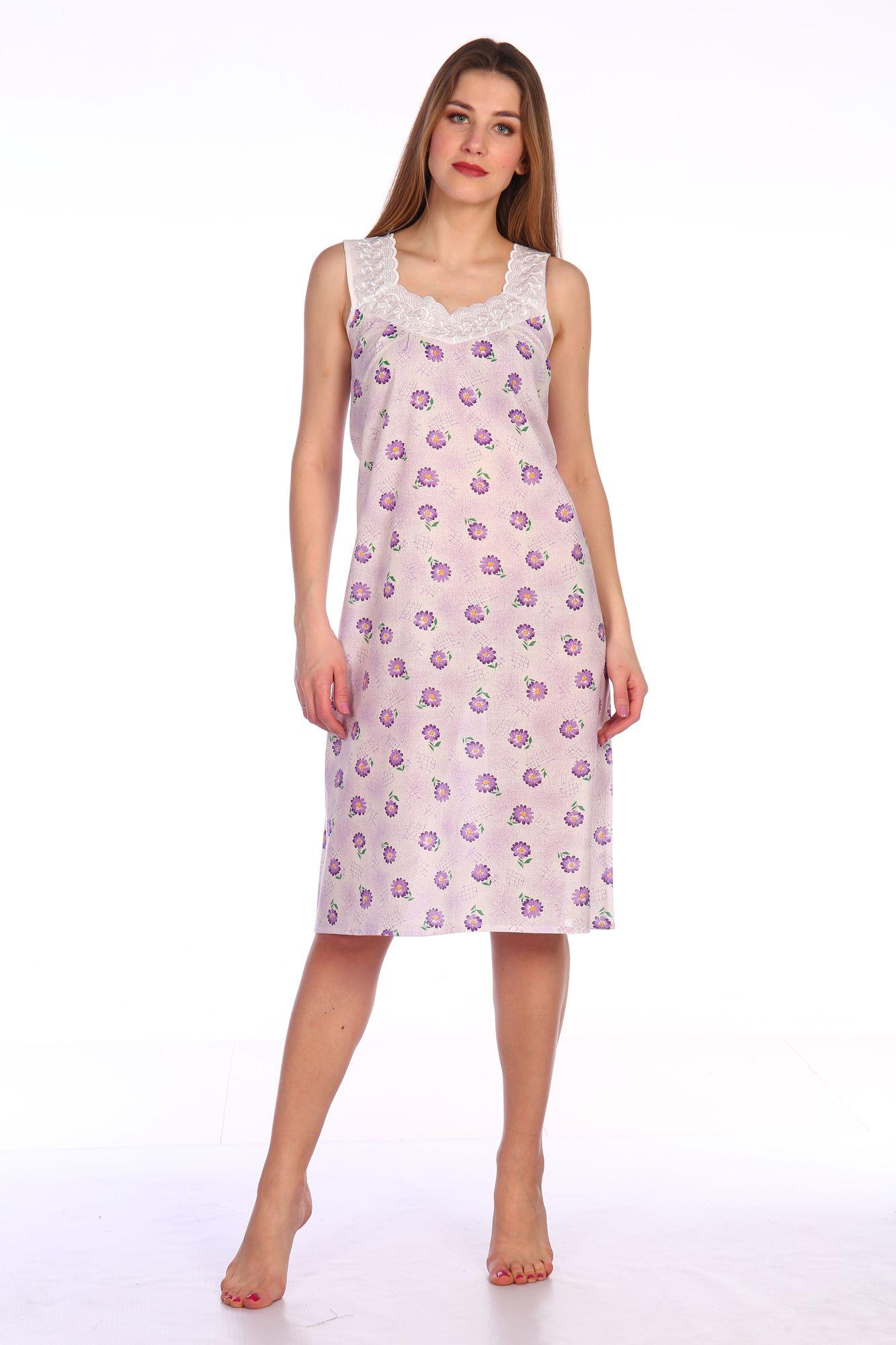 Сорочка ночная женская,модель 4031,ситец (Полянка, сиреневый )