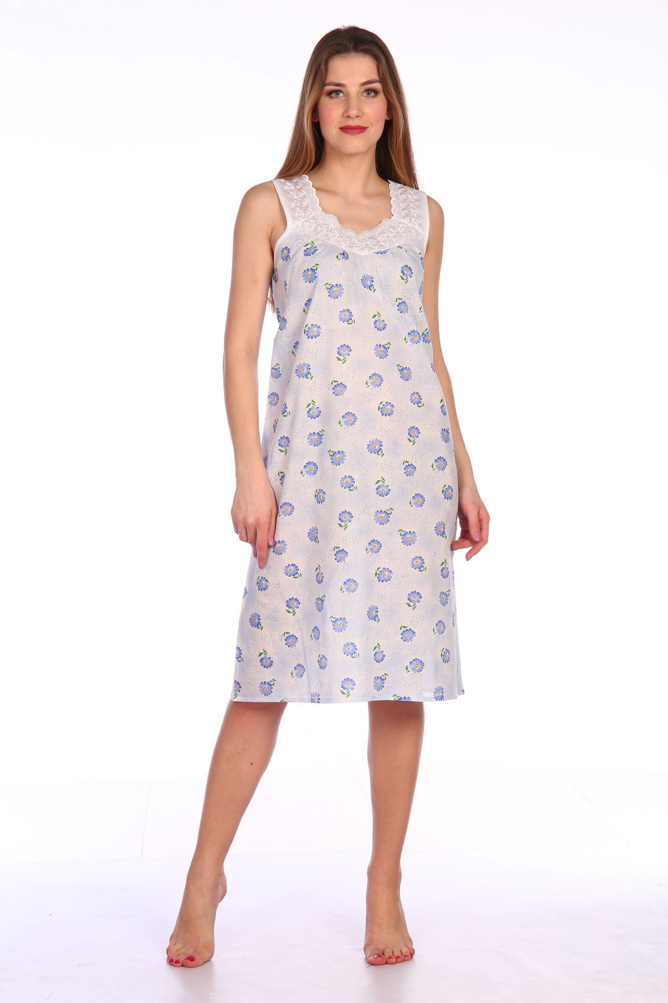 Сорочка ночная женская,модель 4031,ситец (Полянка, голубой)