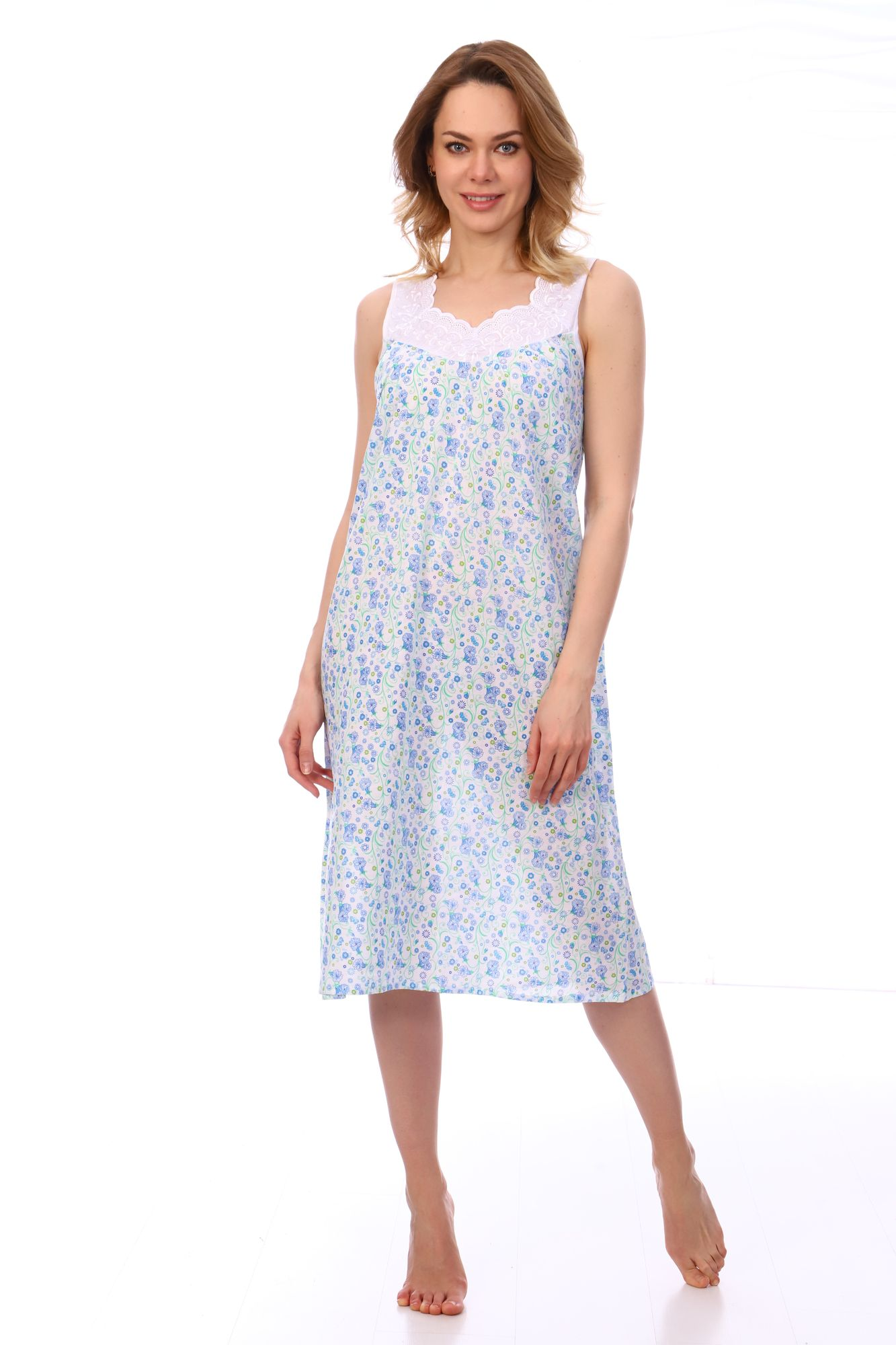 Сорочка ночная женская,модель 4031,ситец (Весна, голубой )