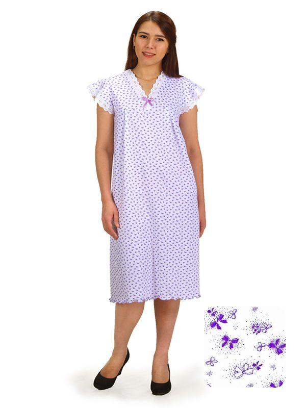 Сорочка ночная женская,мод. 427, трикотаж (Ажурные бантики (сиреневый))