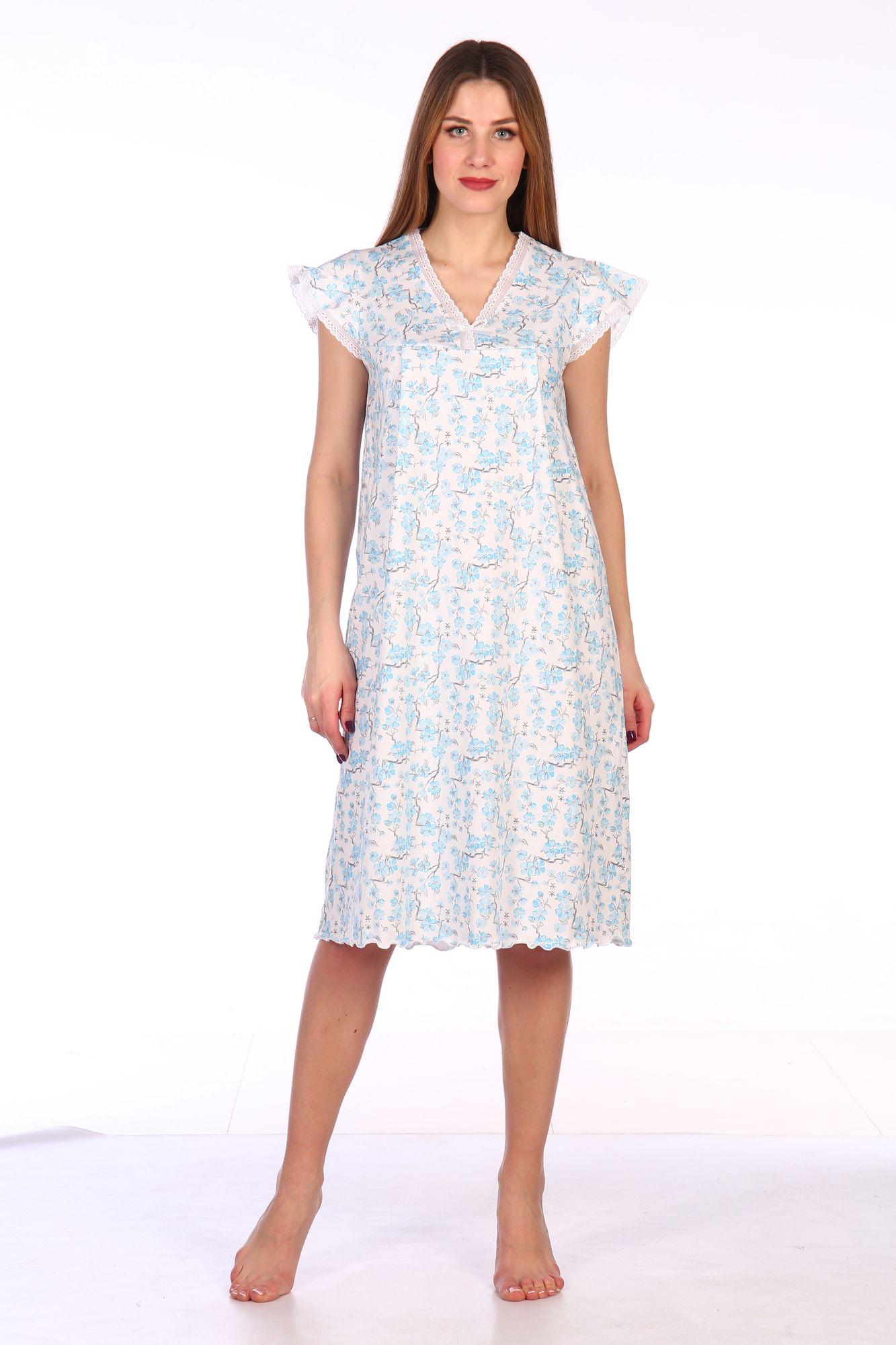 Сорочка ночная женская,мод. 427, трикотаж (Сакура (бирюзовый))