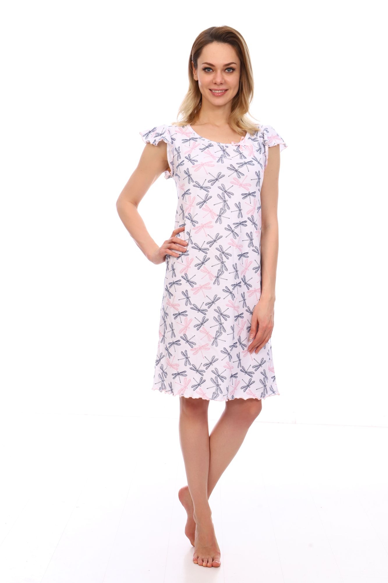 Сорочка ночная женская,мод. 426,трикотаж (Стрекозы (белый))