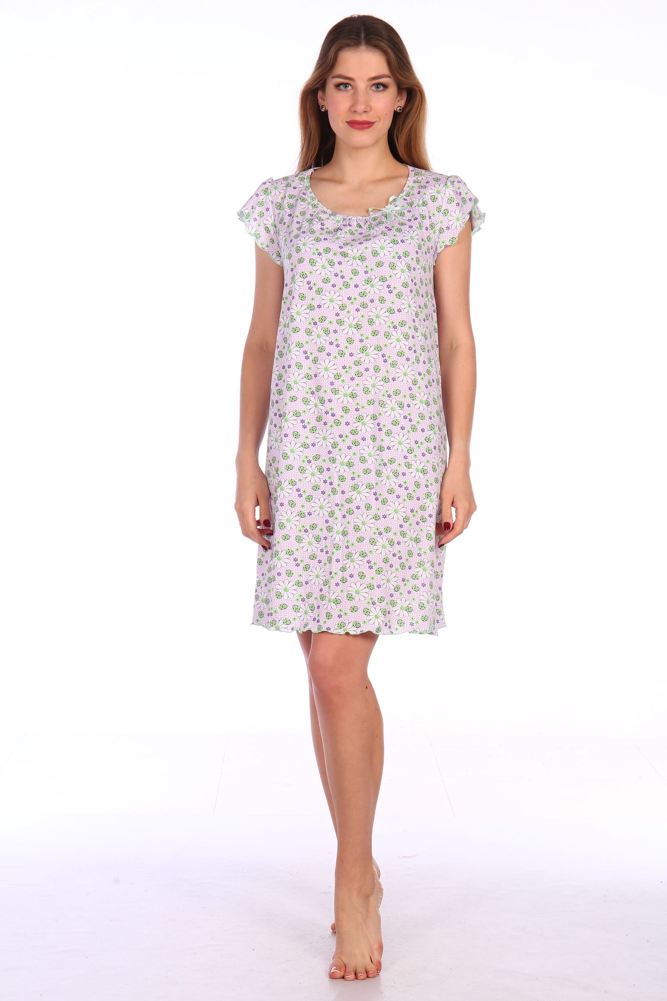 Сорочка ночная женская,мод. 426,трикотаж (Божьи коровки, зеленый )