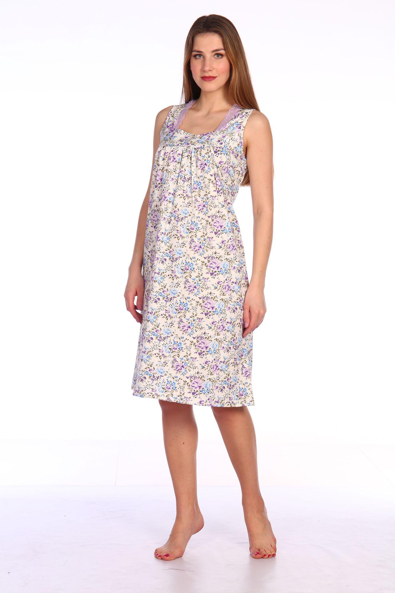 Сорочка ночная женская, мод. 449, трикотаж (Прелесть (сиреневый))