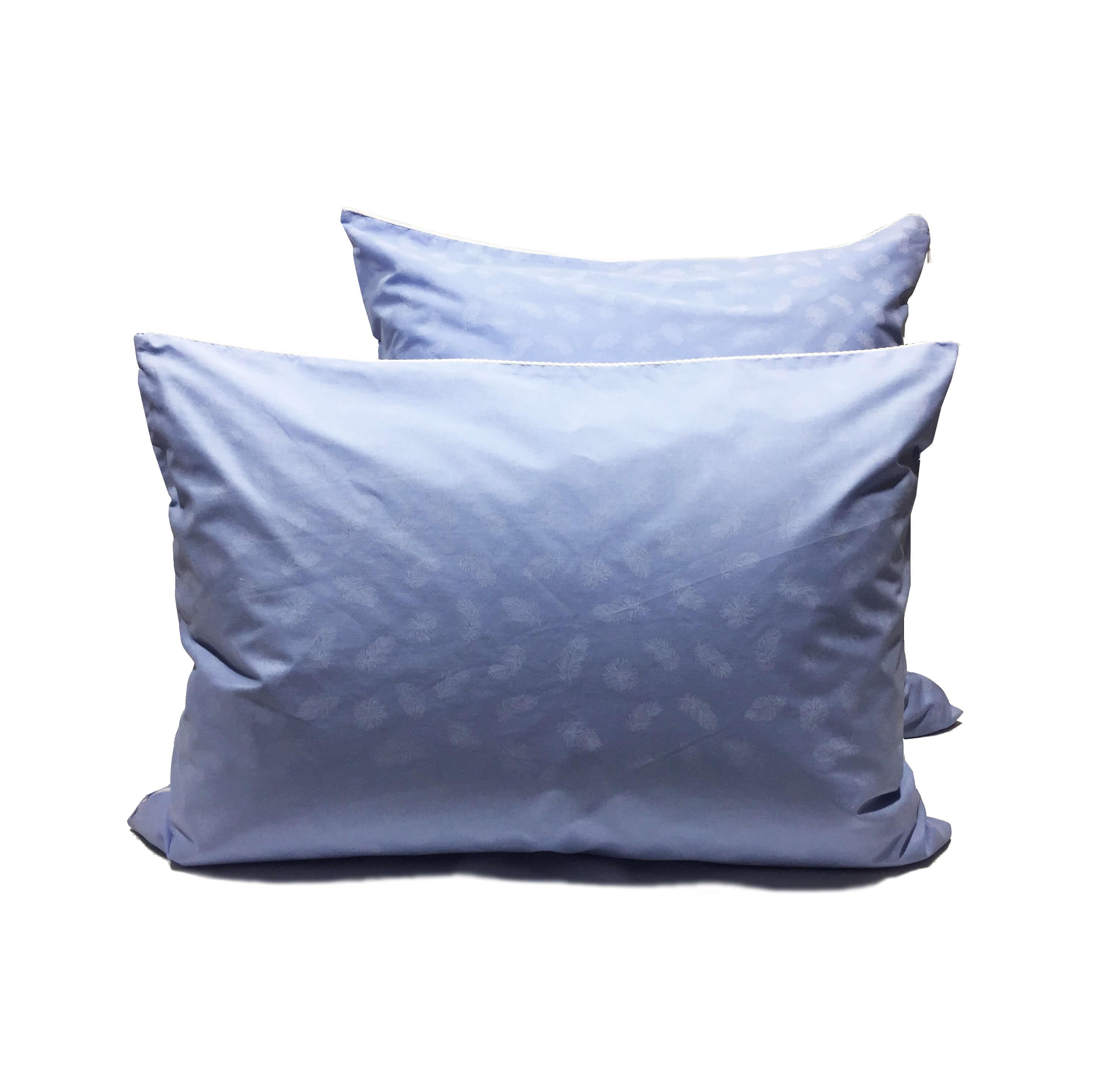 Наперник на молнии 70*70см, ПЭ+хлопок (Перья, голубой)