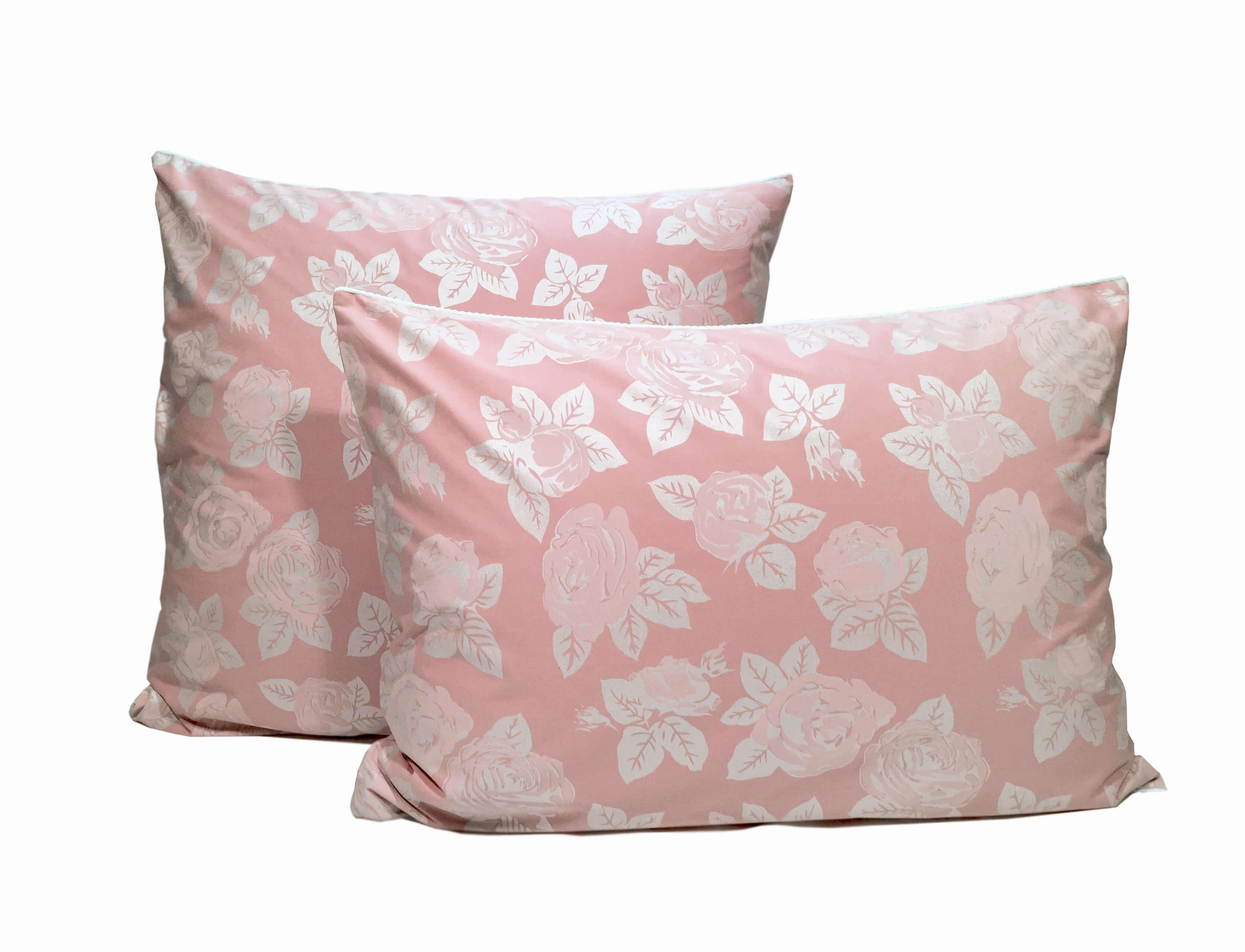 Наперник на молнии 60*60см, ПЭ+хлопок (Розы, розовый)