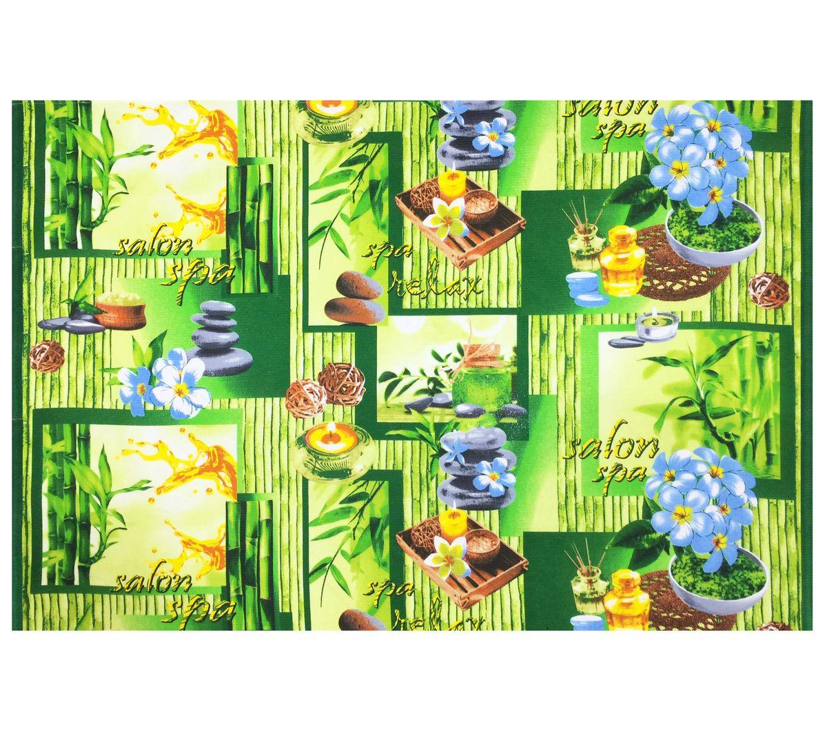 Полотенце вафельное пляжное 80*150 см (Спа, зеленый)