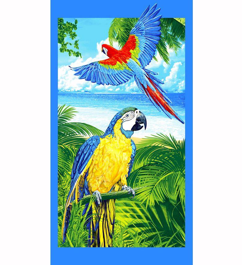 Полотенце вафельное пляжное 80*150 см (Попугаи 3 D)