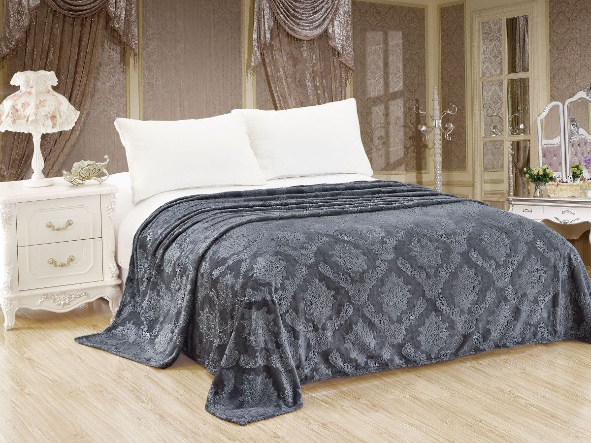 Плед 240*210 см, Велсофт - жаккард, Нежность (Серый)