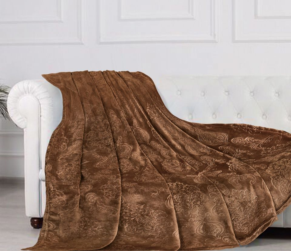 Плед 145*210 см, Велсофт - жаккард, Нежность (Каштан)