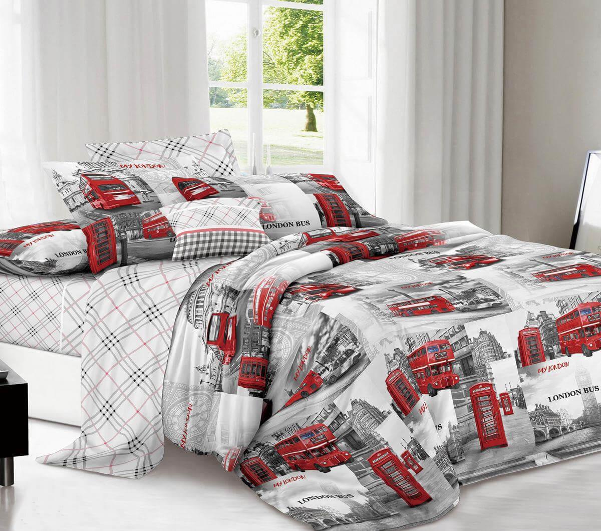 Комплект постельного белья Евростандарт, поплин (Лондон)