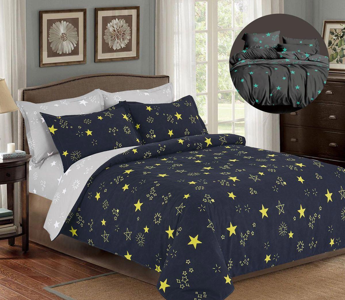 Комплект постельного белья Евромакси, поплин (Звезды)