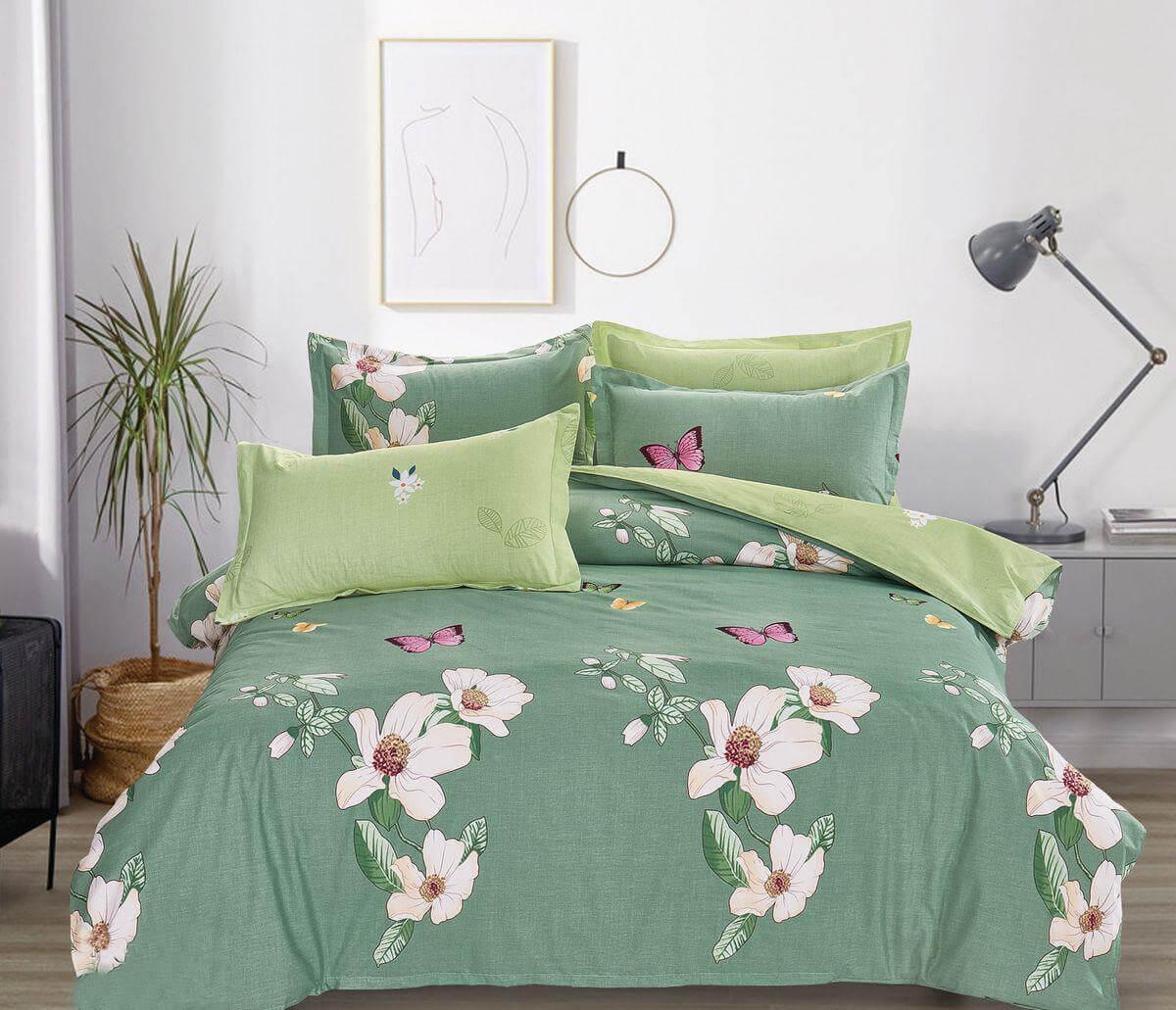 Комплект постельного белья Евромакси, поплин (Цветущий сад)