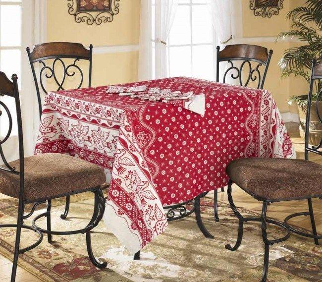 Скатерть 150*180 см, полульняная ткань (Гуси-лебеди, бордовый)