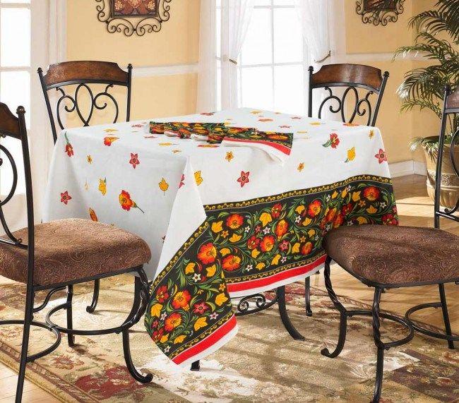 Скатерть 150*150 см, полульняная ткань (Аленький цветочек)