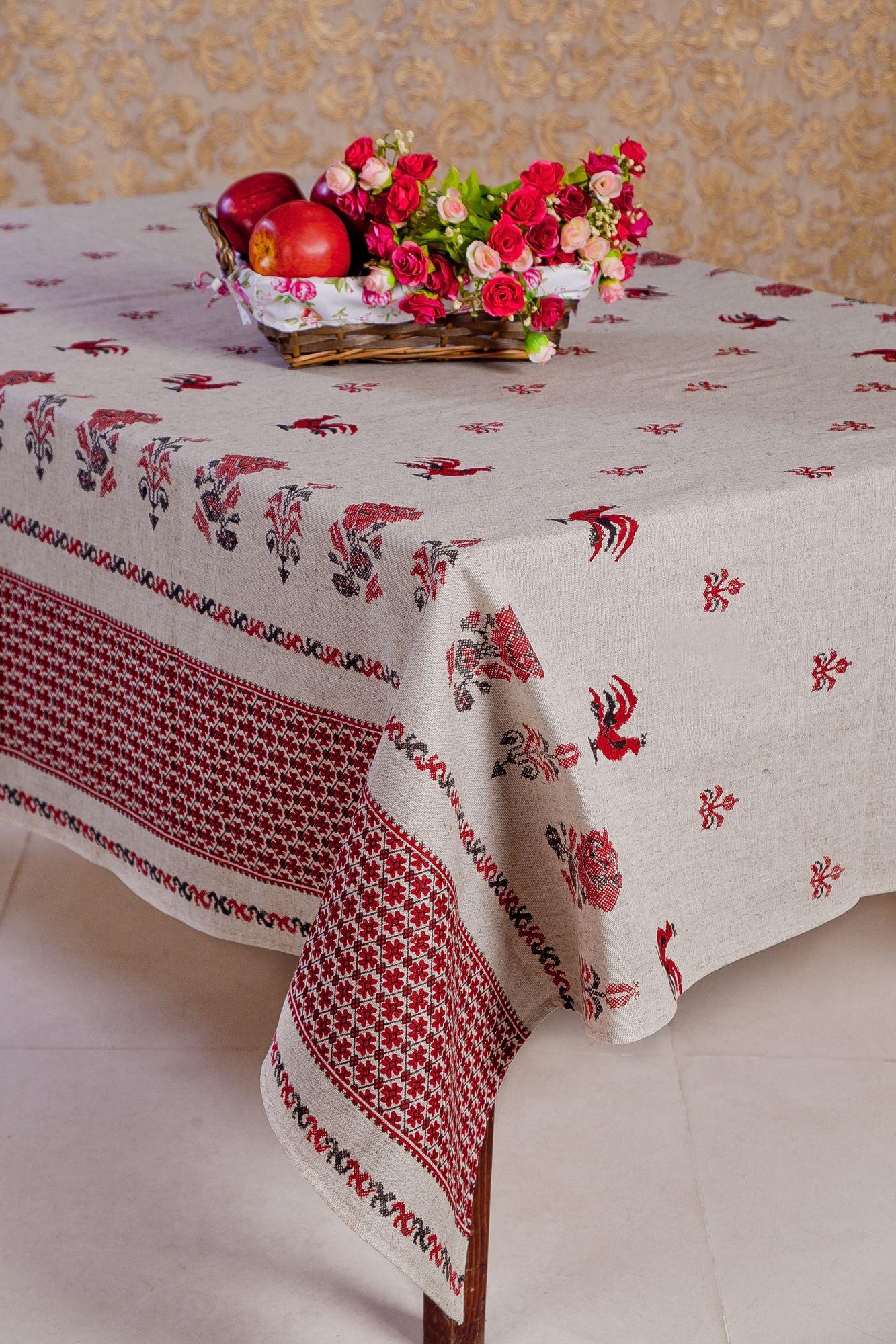 Скатерть 100*150 см, полульняная ткань (Русские узоры)